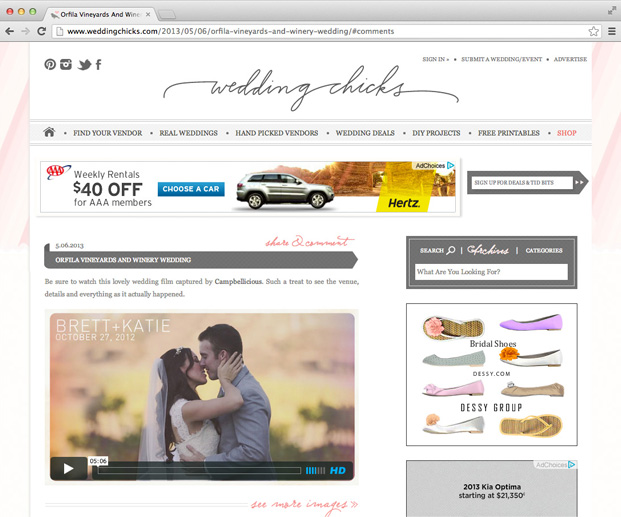 wedding chicks1 Our wedding video featured in WeddingChicks.com!